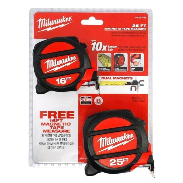Milwaukee  48-22-5125H 25 Ft. & 16 FT. Magnetic Tape Measures BOGO