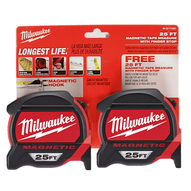 Milwaukee 48-22-7125G 25ft Magnetic Tape Measure, 2-pack