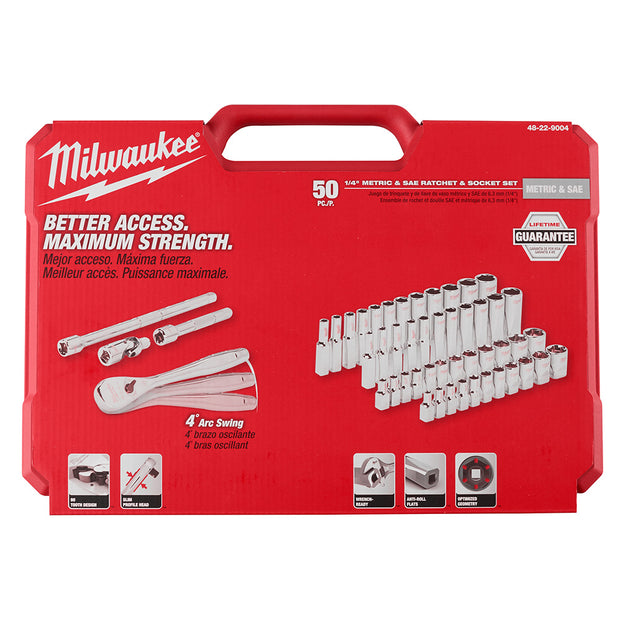 "Milwaukee 48-22-9004 1/4"" Drive 50 Piece Ratchet & Socket Set - SAE & Metric"