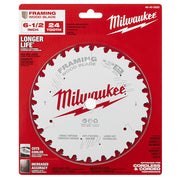 "Milwaukee 48-40-0620 6-1/2"" 24T Framing Circular Saw Blade"