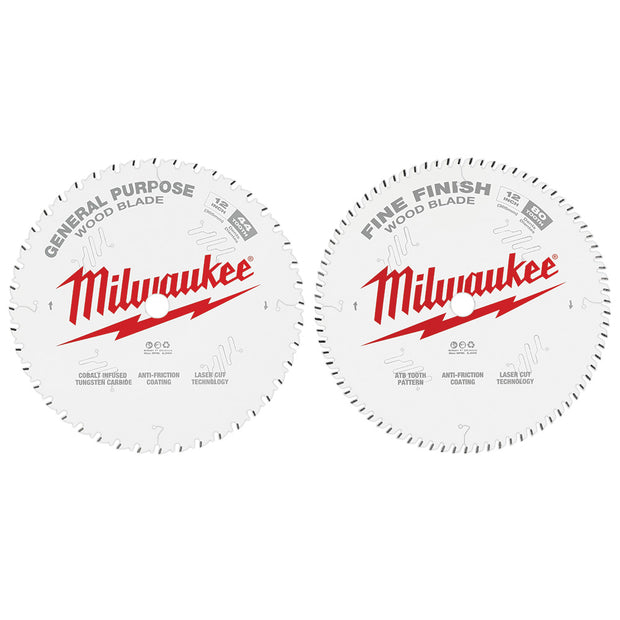 "Milwaukee 48-40-1232 12"" 44T + 80T Two Pack Circular Saw Blade"