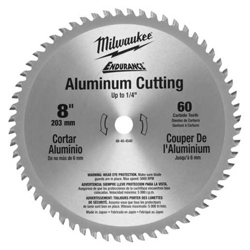 "Milwaukee 48-40-4540 8"" 60 Tooth Aluminum Circular Saw Blade"