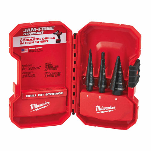 Milwaukee 48-89-9221 Dual-Flute 3pc Step Bit Set (#1, #2, #4)