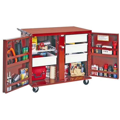"Jobox 676996 16/14 GA. STEEL 4 DRAWER ROLLING WORKBENCH W/ 6"" CASTER KIT"
