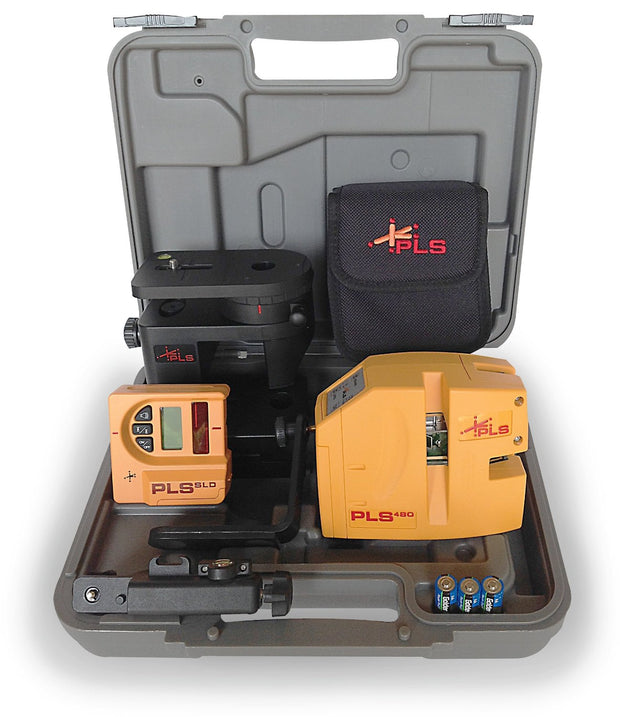 Pacific Laser Systems PLS 480 Red Self-Leveling Line Laser Level System with SLD Detector PLS-60612
