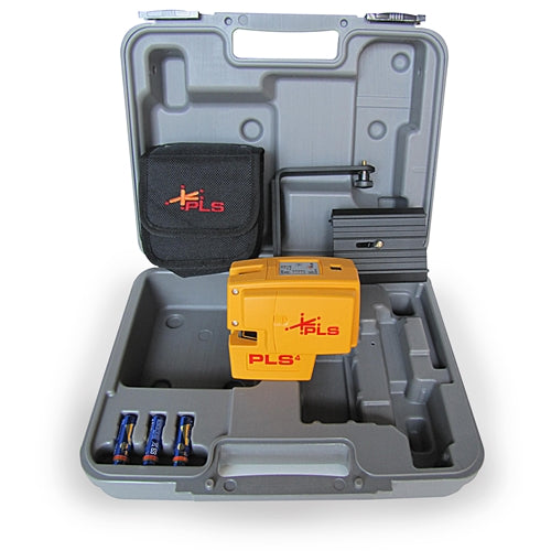 Pacific Laser Systems PLS 4 Red Cross Line Laser Level Tool with Plumb, Bob, and Level PLS-60574