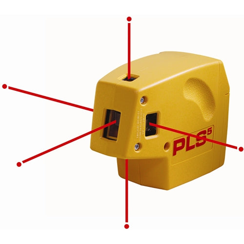 Pacific Laser Systems PLS 5 Red 5-Point Self-Leveling Laser Level, Plumb and Square Tool PLS-60541