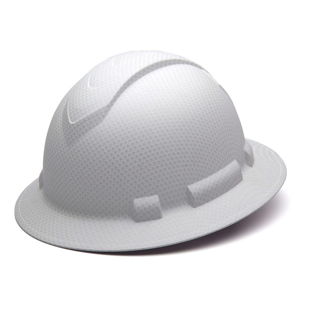 Pyramex HP54116 Ridgeline White Graphite Full Brim Hard Hat, 4 Pt Ratchet