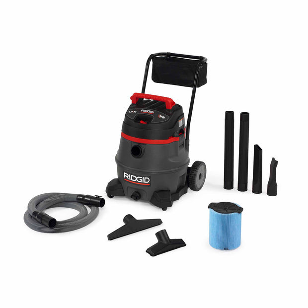 RIDGID 50348 1400RV 14 Gal Red Wet/Dry Vac with Cart