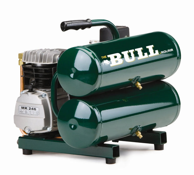 Rolair FC2002 The Bull 2 HP 4.3 Gal Twin Stack Compressor with Overload Protection and Manual Reset