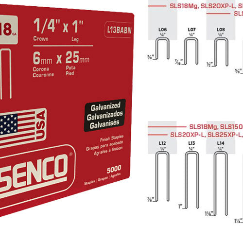 "SENCO L13BABN 18 Gauge Galvanized Staple 1"" x 1/4"""