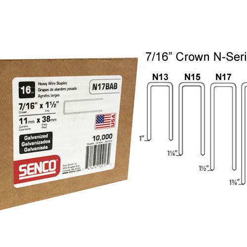 "SENCO N17BAB 7/16"" Crown, 1-1/2"" Leg 16 Gauge, Class 1 Galvanized Sencote"