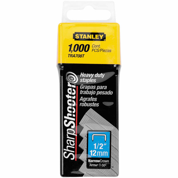 "Stanley TRA708T Heavy Duty Narrow Crown Staples 1/2"" - 1,000 Pack"