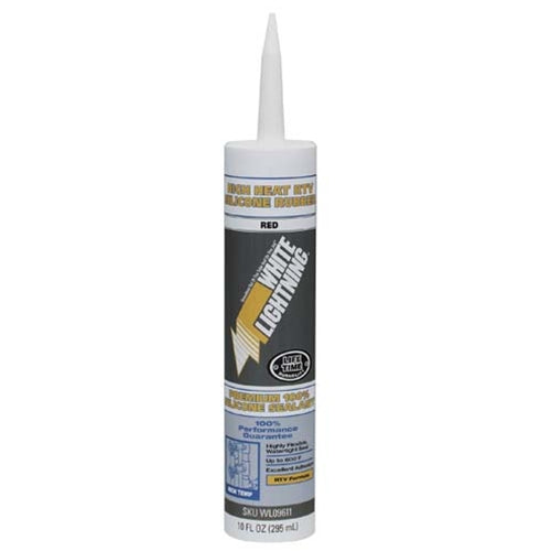 White Lightning WL09611 High Heat Silicone Sealant (RTV)Red
