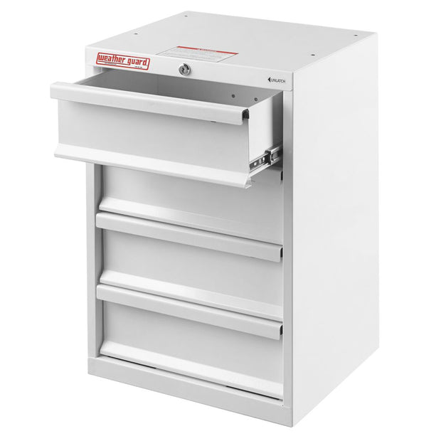 "Weather Guard 9924-3-02 Mechanics Grade Brite White Armor-TUF 4-Drawer Cabinet, 24"" x 16"" x 14"""