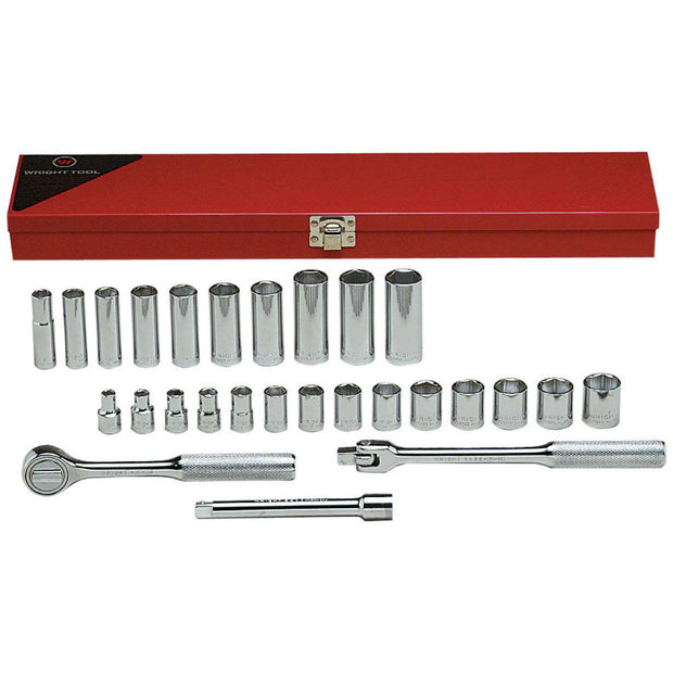 "Wright Tool 377 27 Piece 3/8"" Drive 6 Point Standard And Deep Metric Socket Set"