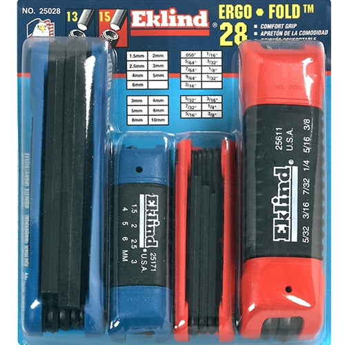Eklind 25028 4pc hex fold-up set 25912/611/171/161