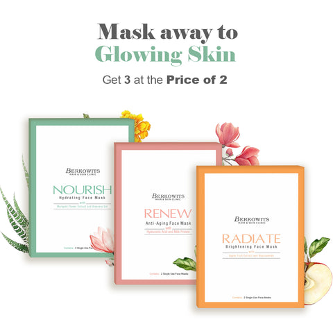 Berkowits Face Mask for Glowing Skin - Pack of 6 Face Mask Sheet