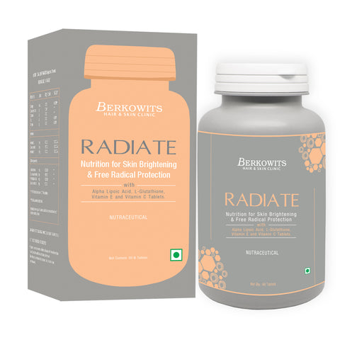 Berkowits Radiate L Glutathione Tablets for Skin Lightening and Free Radical Protection