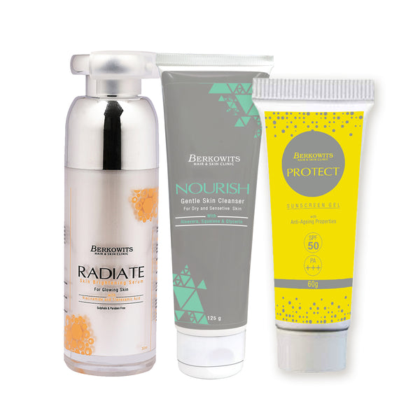 Winter Glowing Skincare Regime with Sunscreen and Cleanser (215g)