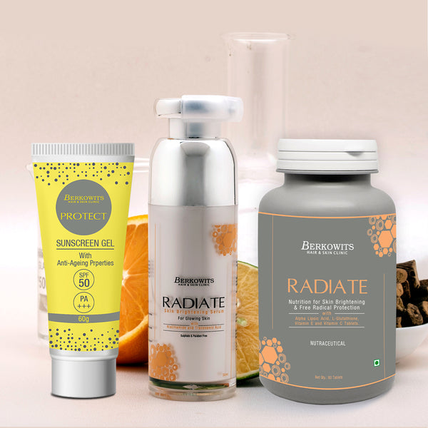 Berkowits Radiate Treatment Kit for Glowing Skin with Protect Sunscreen SPF 50 (Combo pack)