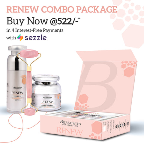 Berkowits Renew Anti Aging Treatment Kit for Glowing Skin with Jade roller (60ml)
