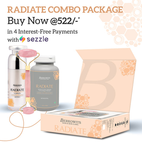 Berkowits Radiate Treatment Kit for Glowing Skin with Berkowits Jade roller for face roller(Combo pack)