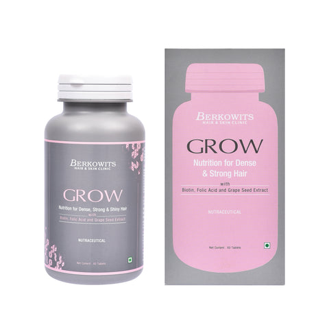 Berkowits Grow Tablets for Hairfall with - Biotin, Folic Acid and Grape Seed (60tabs)