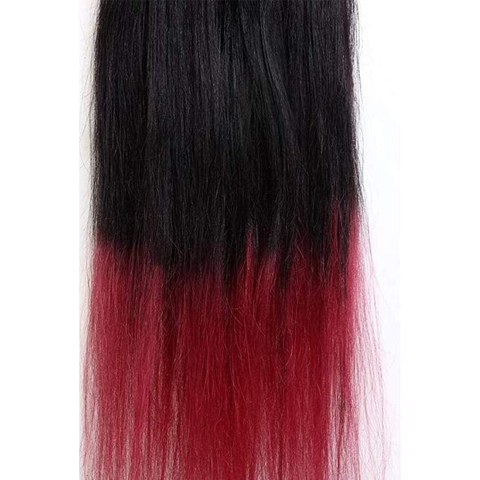 7 Piece Clip-On Ombre Burgundy Hair Extensions