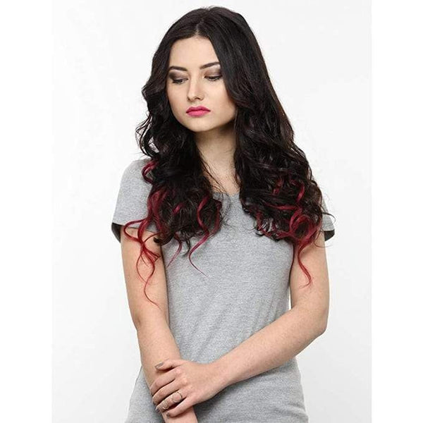 7 Piece Ombre Burgundy Hair Extensions