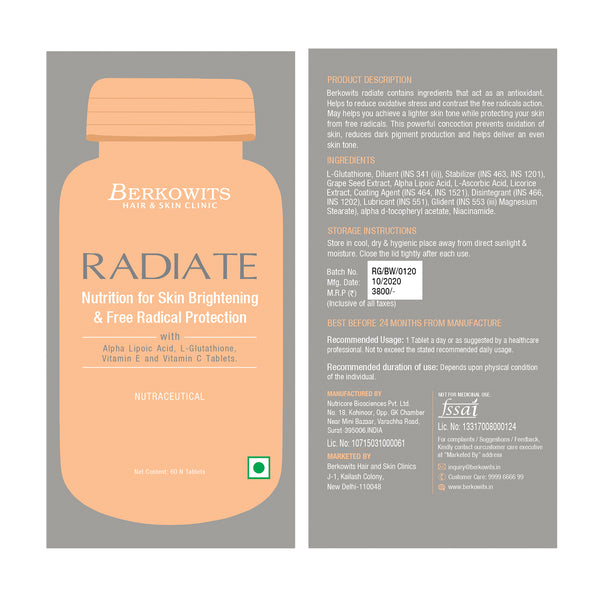 Berkowits Radiate L Glutathione Tablet for Skin Lightening and Free Radical Protection Supplements 60+60 Tablets (1+1 Offer)