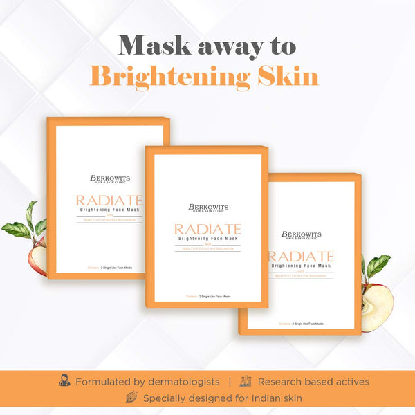 Berkowits Radiate Face Mask Sheets for Glowing Skin (Pack of 6 Sheets)