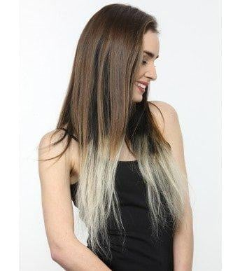 7 Piece Clip-On Ombre Bleach Blonde Hair Extensions