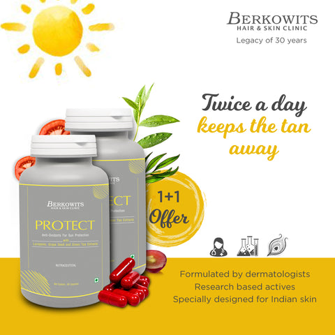 Berkowits Protect - Sun and Pollution Protection AntiOxidants Supplements for Skin (1+1 Offer)