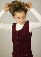 Load image into Gallery viewer, Ribbed velvet burgundy dress kids