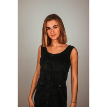 Load image into Gallery viewer, Ribbed velvet black dress -30%