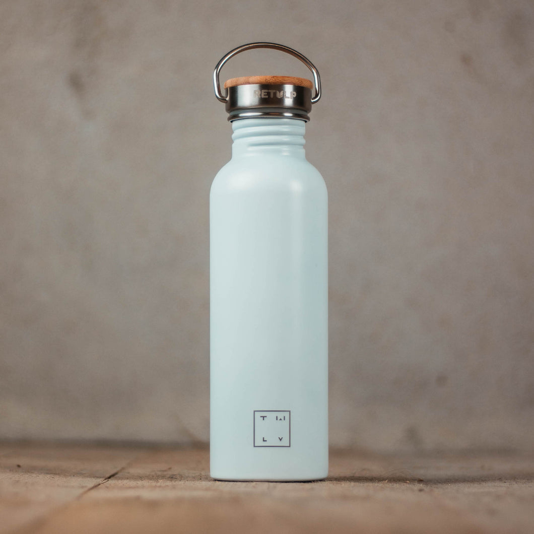 Drinking bottle with bamboo cap 750ml - white
