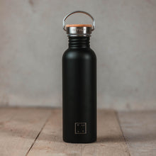 Load image into Gallery viewer, Drinking bottle with bamboo cap 750ml - black