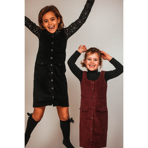 Ribbed velvet burgundy dress kids