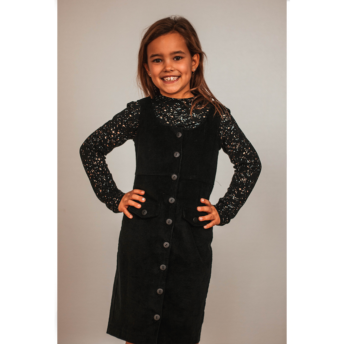 Ribbed velvet black dress kids -30%