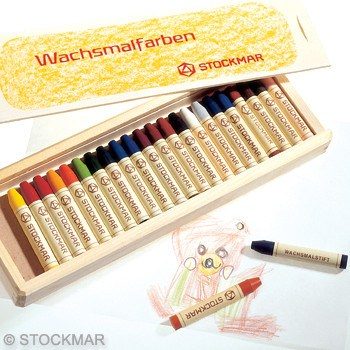 STOCKMAR stick crayons 24 assorted (wooden box)