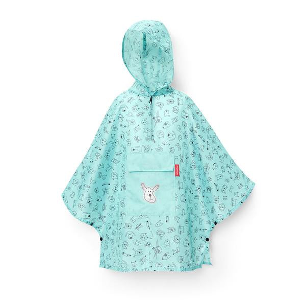 REISENTHEL Mini Maxi Poncho M Kids Cats and Dogs Mint