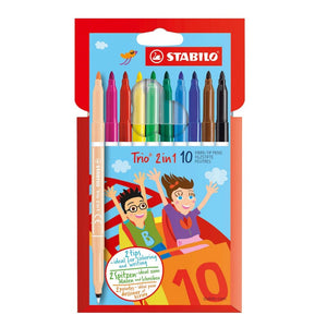 STABILO Trio 2-in-1 Fibre Tip Pens 10 pieces