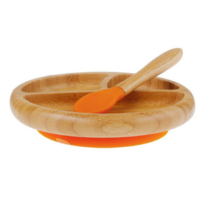 AVANCHY Bamboo Baby Stay-Put Suction Plate + Spoon