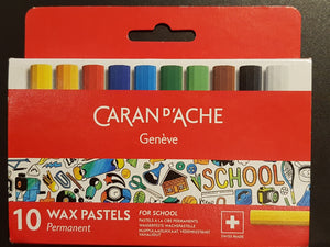 Caran d'Ache School Wax Pastels 10pcs Permanent