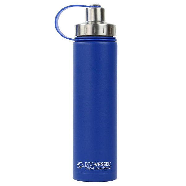 ECOVESSEL Boulder - 24oz (700ml) TriMax Triple Insulated Bottle with 2-Piece Screw Cap and Strainer