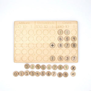 TREASURES FROM JENNIFER Place Value Board with number coins (w/o pegs)