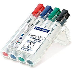 STAEDTLER Lumocolor Marker Pens Whiteboard 2mm Bullet Tip Pack of 4