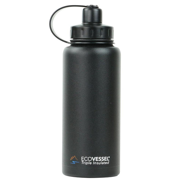 ECOVESSEL Boulder - 32oz (946ml) TriMax Triple Insulated Bottle with 2-Piece Screw Cap and Strainer