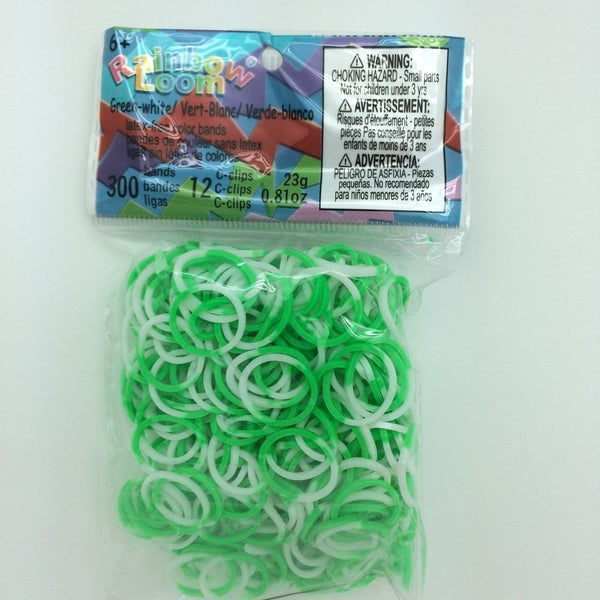 RAINBOW LOOM Silicone Elastic Bands - 2-Colors Green White